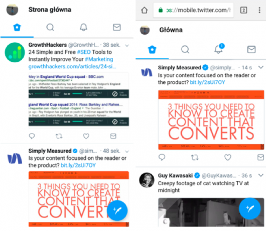 porównanie aplikacji Twittera i PWA Twitter Lite
