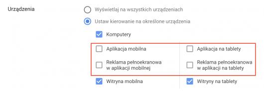 zmiany w wykluczeniach urządzeń mobilnych