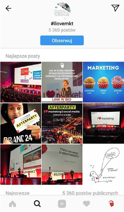 obserwowanie hashtagów na instagramie