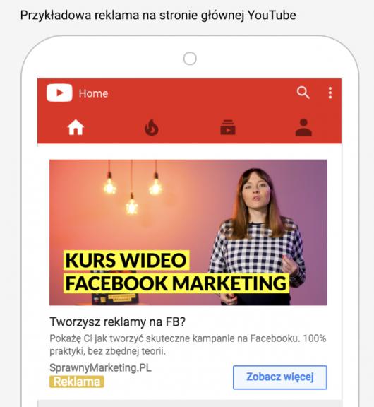 Przykładowa reklama na stronie głównej YouTube