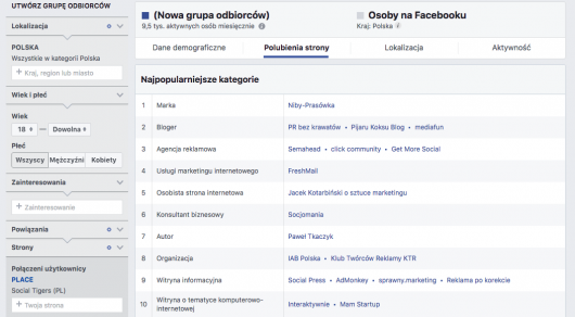 audience insights targetowanie na facebooku