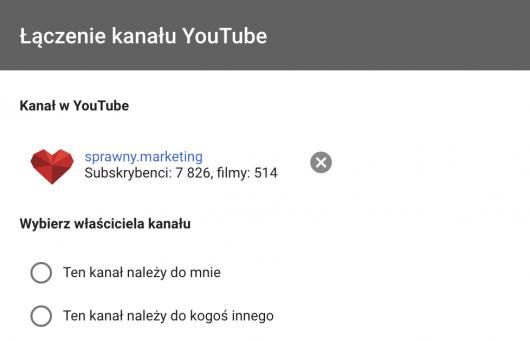 połączenie kanału YouTube