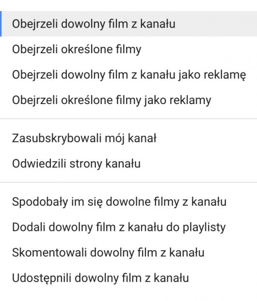 Tworzenie list remarketingowych z YouTube'a