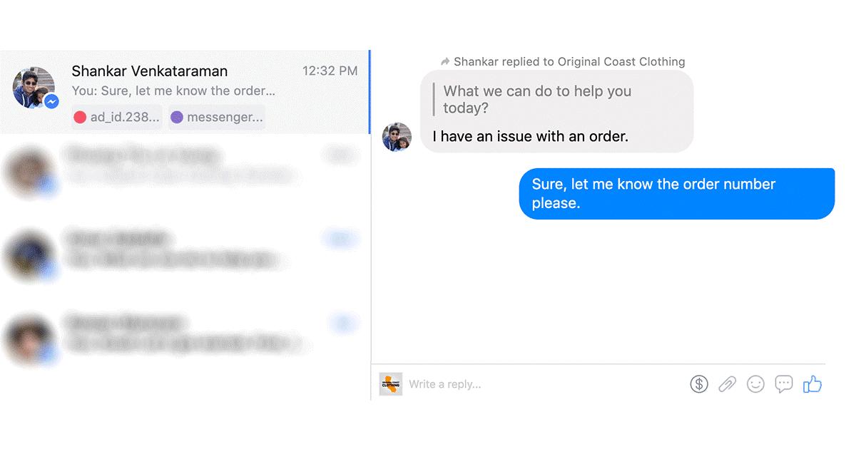odpowiadanie na wiadomość messenger