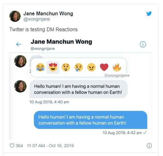 reakcje w wiadomościach prywatnych na twitterze