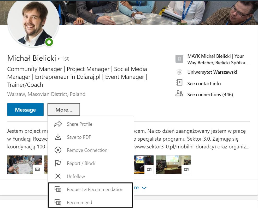 Jak wystawić rekomendacje na LinkedInie?