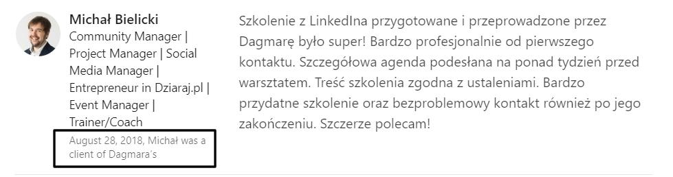 Relacja zawodowa w rekomendacjach na LinkedInie