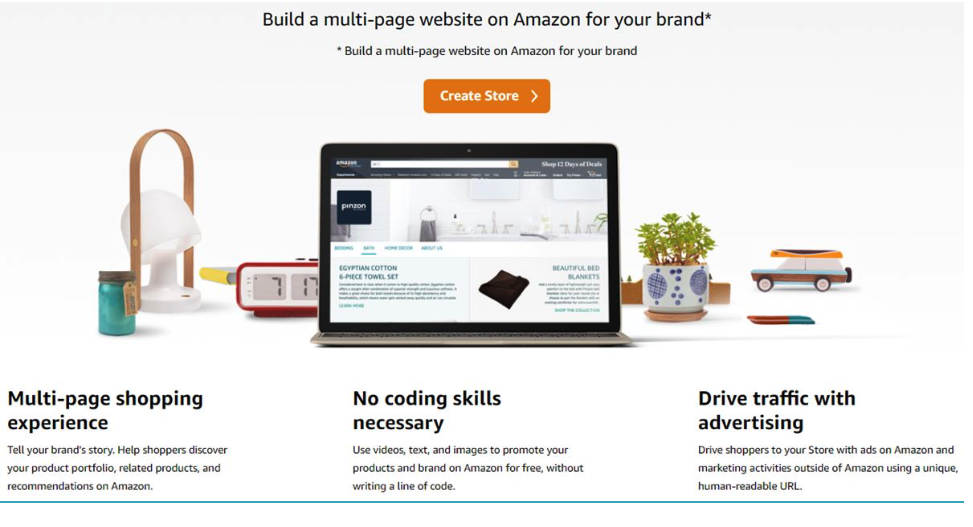 build a multi-page website on Amazon for your brand*
