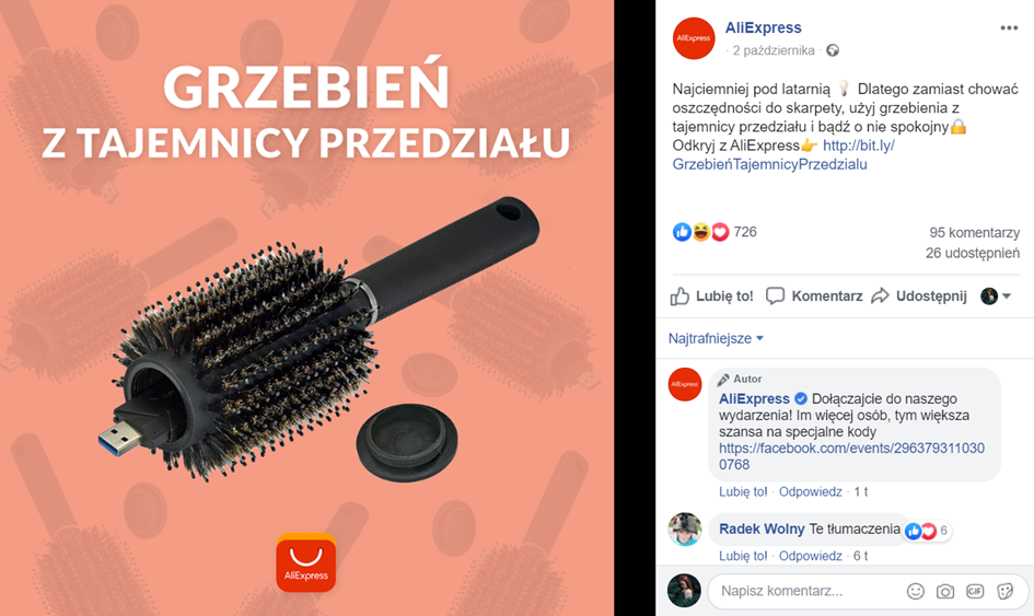 aliexpress na facebooku