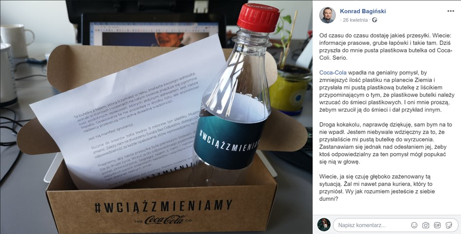 coca cola plastikowe butelki influencerzy