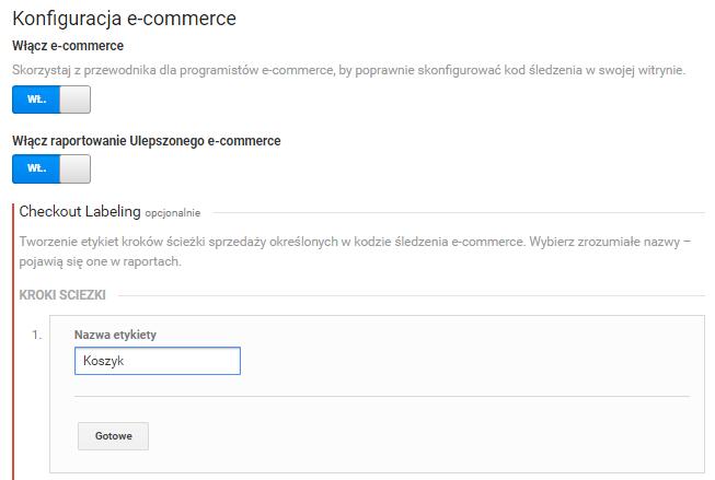 Konfiguracja ulepszonego e-commerce