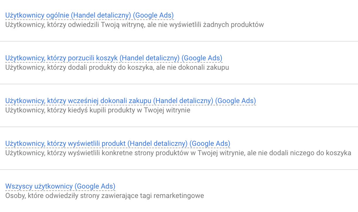 zestaw list Google