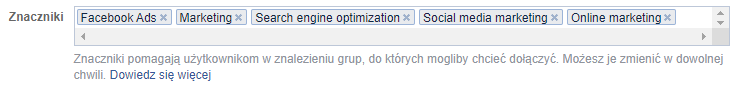 znaczniki grupy Facebook
