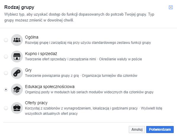 wybór rodzaju grupy na Facebooku