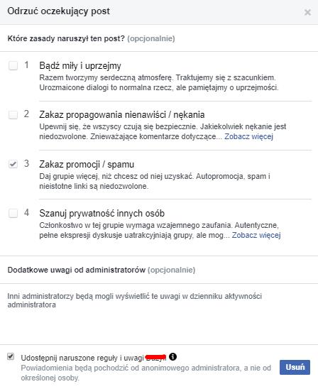 regulamin grupy na Facebooku