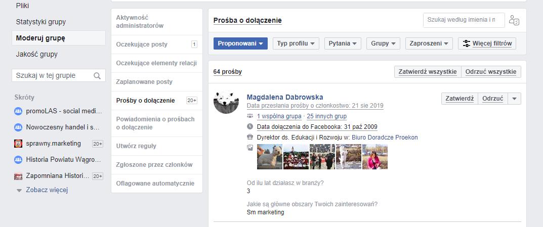 zarządzanie członkami grupy na Facebooku