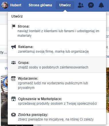 tworzenie grupy na Facebooku