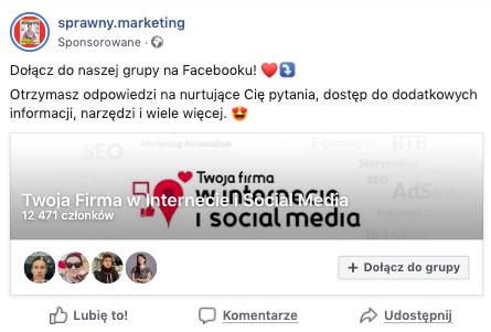 reklama grupy na Facebooku