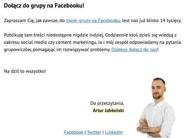 mailing promujący grupę na Facebooku