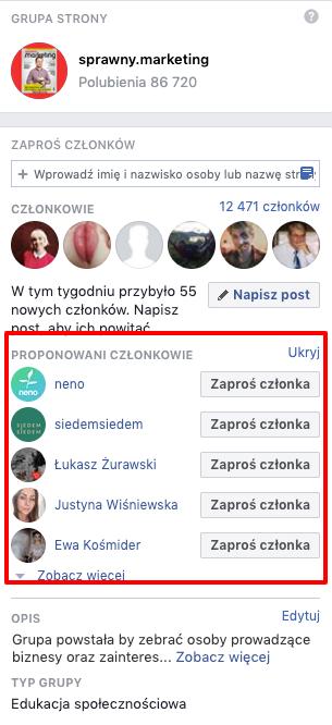 zaproszenie do grupy na Facebooku