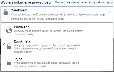 ustawienia prywatności grupy na Facebooku