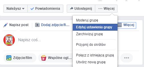 ustawienia grupy na Facebooku