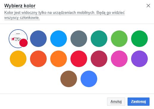 kolor grupy na Facebooku