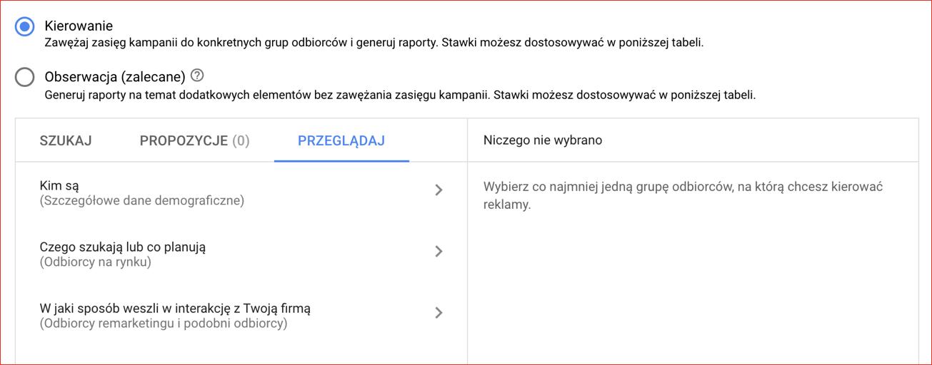 dane o odbiorcach google ads