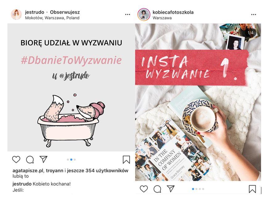 wyzwania na Instagramie