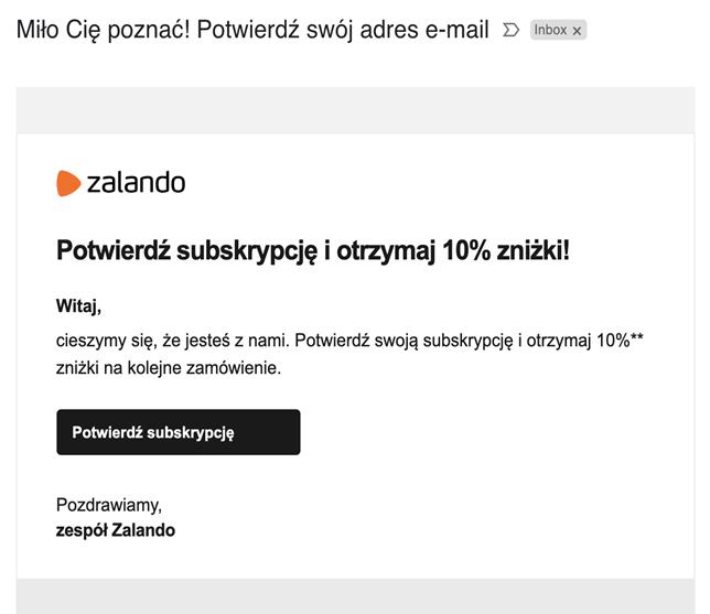 mail powitalny zalando