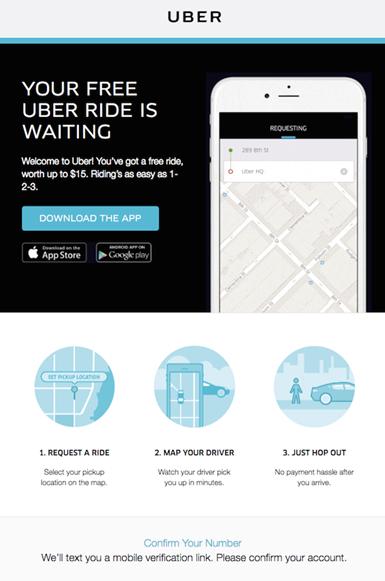 wiadomość powitalna uber